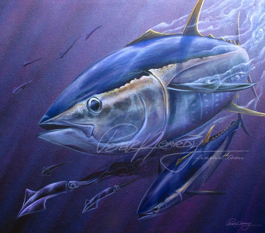 Tuna Painting, Yellowfin Tuna, Yellowfin tuna painting