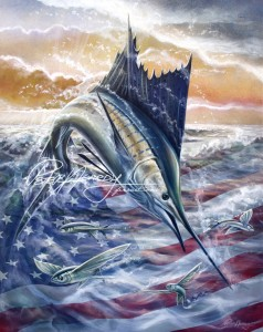 Sailfish Painting, Sailfish Art, American Flag art